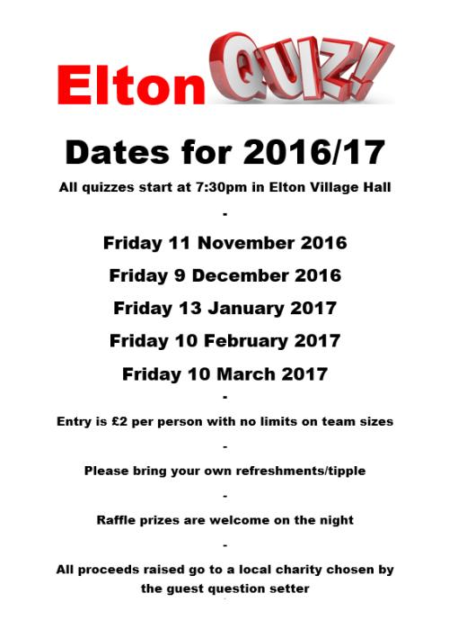 Elton Quiz Dates 2016/17