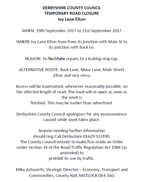 Road Closure Notice - Ivy Lane, Elton (19 September 2017)