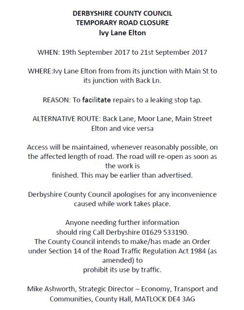 Road Closure Notice - Ivy Lane, Elton (19 September 2017)