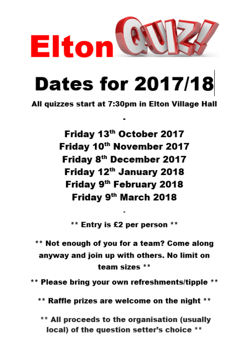 Elton Quiz Dates - 2017 to 2018