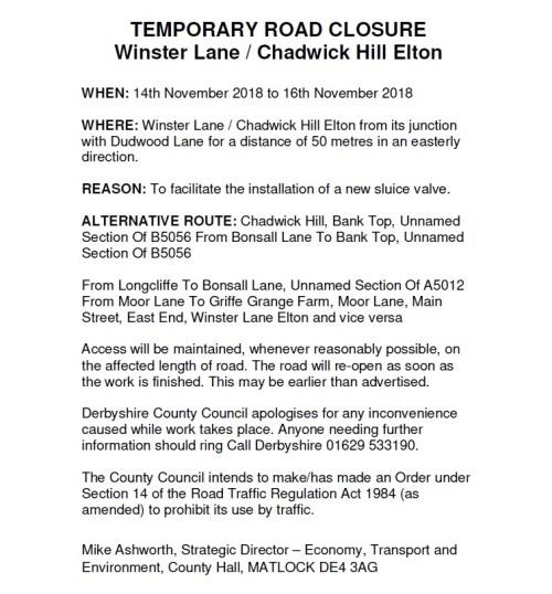 Road Closure Notcie - Chadwick Hill