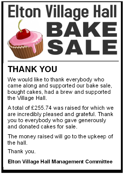 Bake Sale Thanks