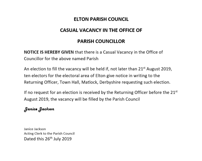 Elton Parish Council - Notice of Casual Vacancy
