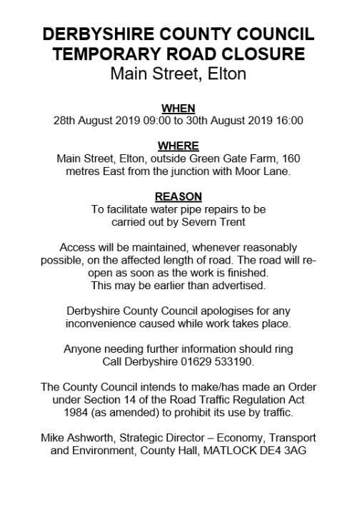 Road Closure Notice - Elton