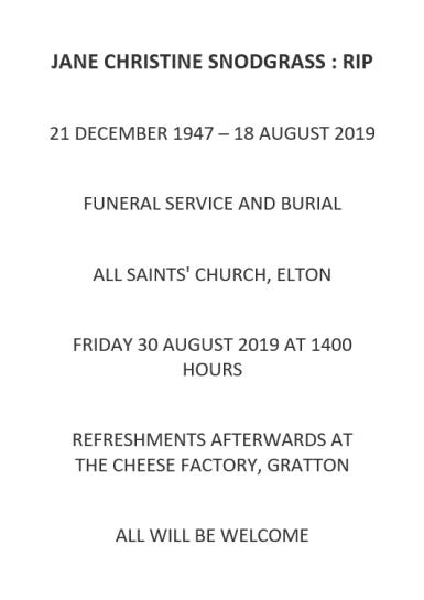 Jane Snodgrass Funeral Service
