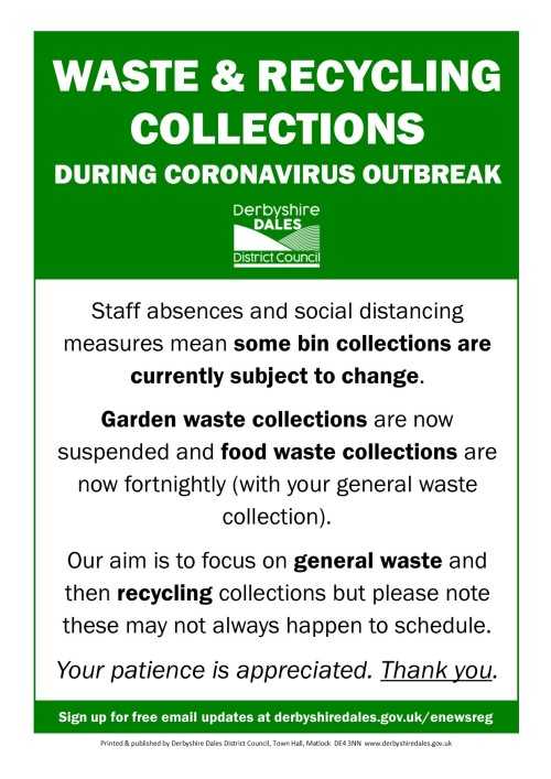 Coronavirus update -changes to waste collections