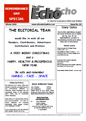 Elton Echo Issue 63 (Winter 2020) - Remembrance Day Special